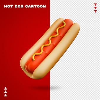 Dessin animé de hot-dog en rendu 3d isolé