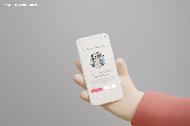 Dessin animé à la main 3d tenir la maquette d'argile pour smartphone