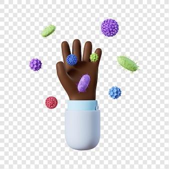 Dessin animé main de médecin afro-américain avec des bactéries
