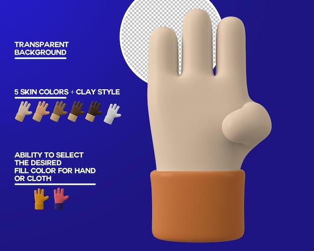 Dessin animé main trois geste