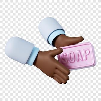 Dessin animé médecin afro-américain main tenant du savon