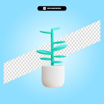 Dessin animé plante illustration de rendu 3d isolé