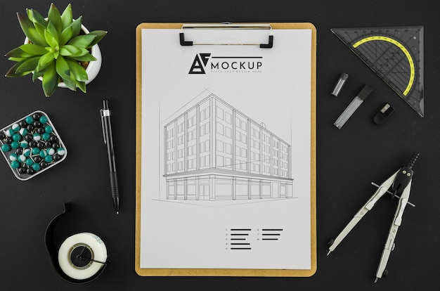 Dessin d'architecture vue de dessus avec maquette