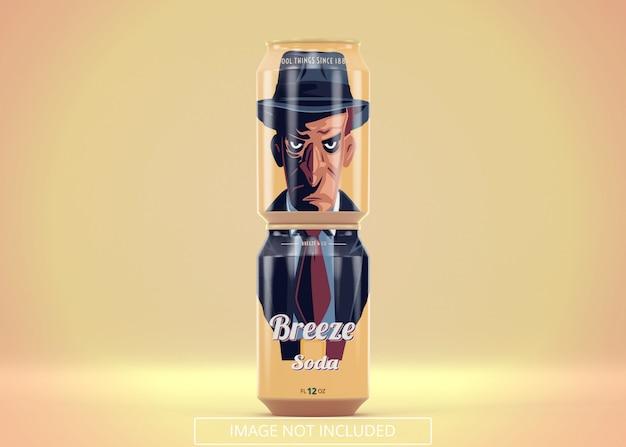 Deux boissons gazeuses debout peuvent servir de maquette pour le logo ou l'autocollant