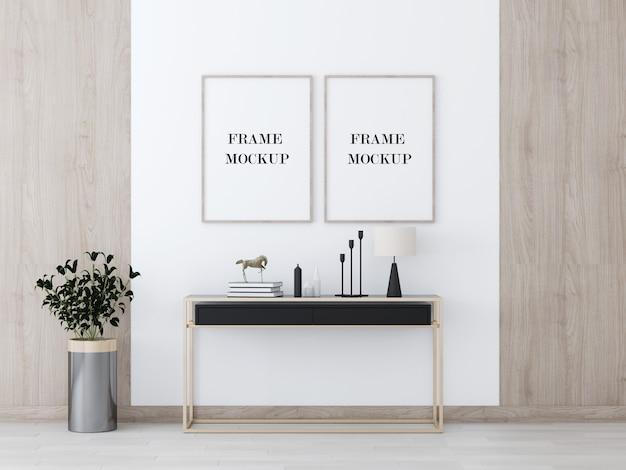 Deux cadres de mur en bois au-dessus de la table de console moderne maquette de rendu 3d