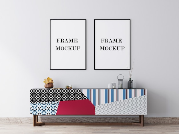 Deux cadres muraux au-dessus de la maquette de rendu 3d buffet abstrait