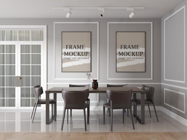 Deux cadres muraux dans un intérieur néo classique