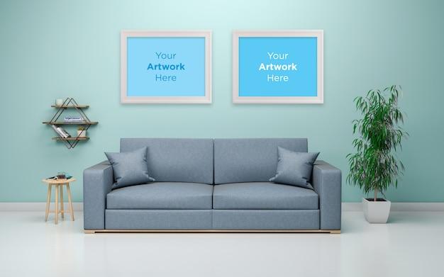Deux cadres photo vide mockup design intérieur du salon moderne