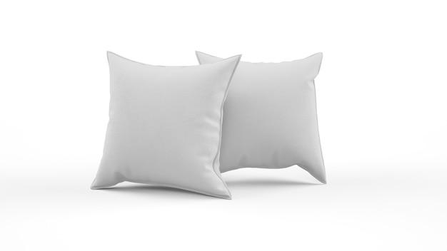 Deux coussins de couleur grise isolé isolé