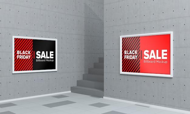 Deux maquette de panneau d'affichage dans un centre commercial avec bannière de vente vendredi noir