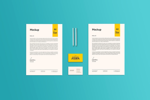 Deux maquette de papier a4 et de carte de visite