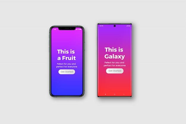 Deux maquettes de smartphone