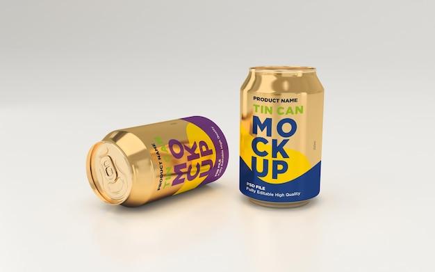 Deux soda en aluminium doré peuvent boire une maquette psd de boisson