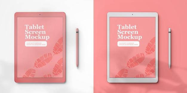 Deux tablettes pad pro avec modèle de maquette d'écran couleur variable, vue de dessus