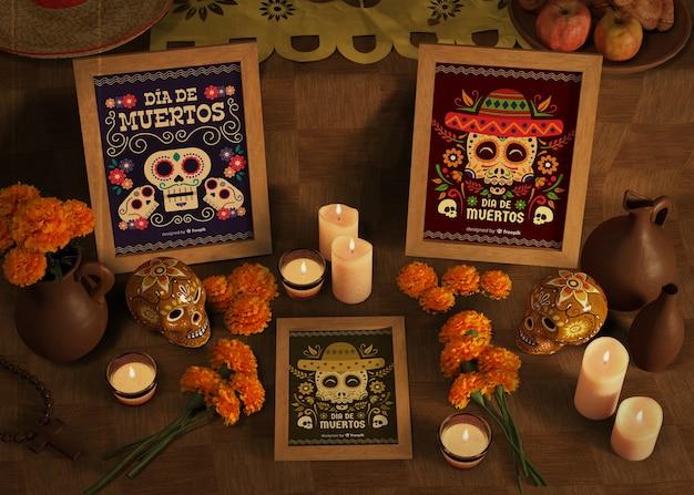 Dia de muertos diverses maquettes avec des bougies