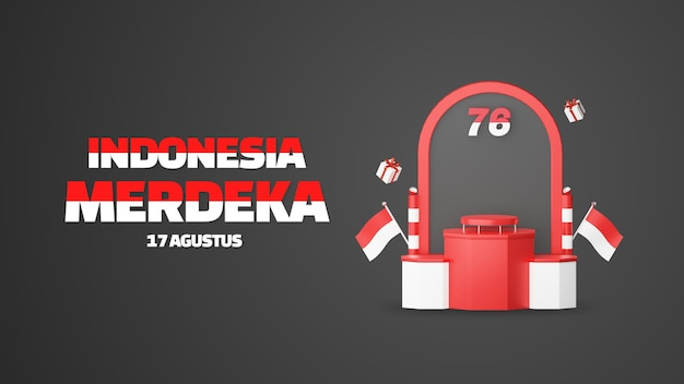 Dirgahayu indonésie signifie joyeux jour de l'indépendance indonésienne podium vide promo afficher fond de paysage. 17 août 76 ans d'indonésie
