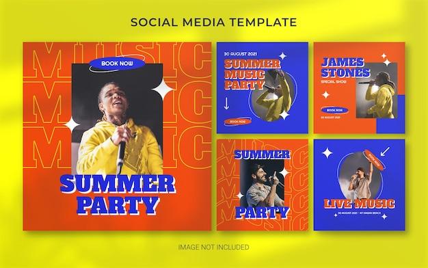 Disposition de bannière de publication de médias sociaux rétro de concert de musique d'été