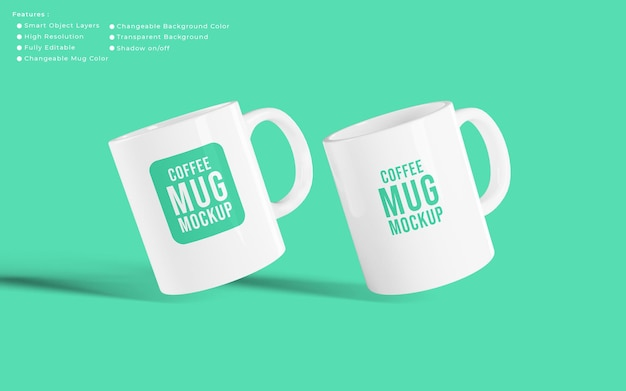 Disposition d'une maquette de tasses à café réaliste minimaliste avec une couleur d'arrière-plan modifiable