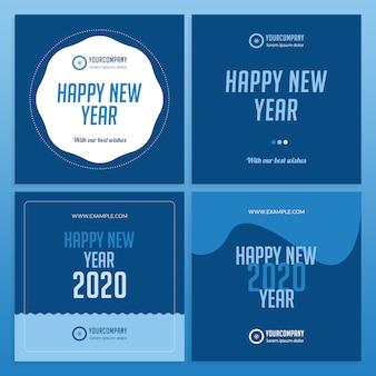 Disposition des médias sociaux du nouvel an couleur 2020