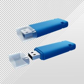 Disque flash bleu rendu 3d avec couvercle ouvert et fermé