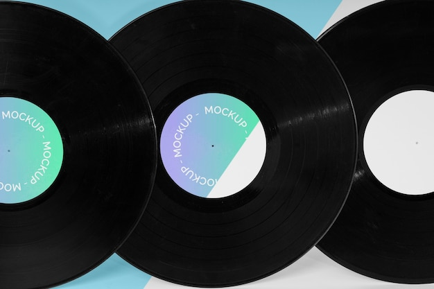 Disque vinyle rétro abstrait avec maquette d'emballage