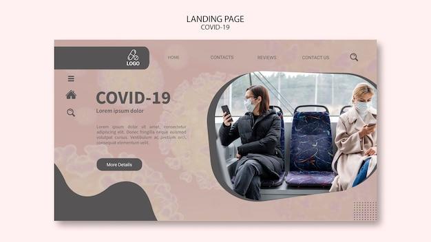 Distance sociale en raison de la page de destination de covid-19