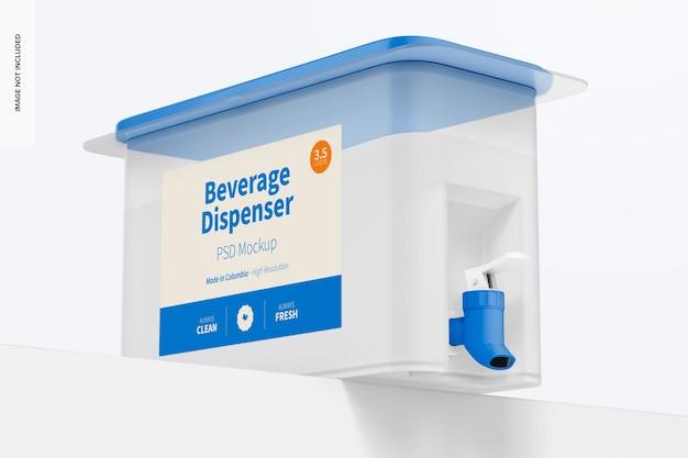 Distributeur de boissons avec robinet maquette, low angle view