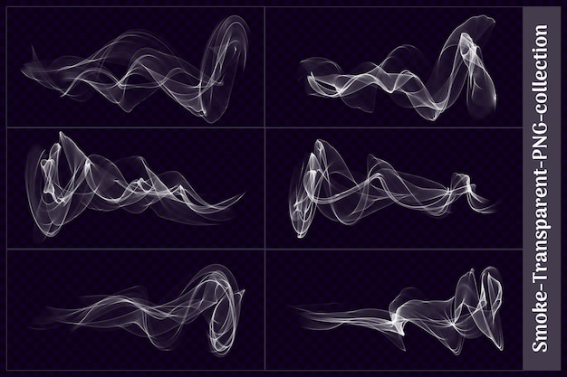 Diverses formes de fumée transparente en rendu 3d