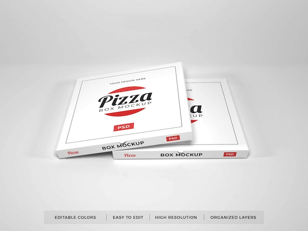 Diverses maquettes de boîtes à pizza réalistes
