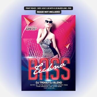 Dj bass party flyer