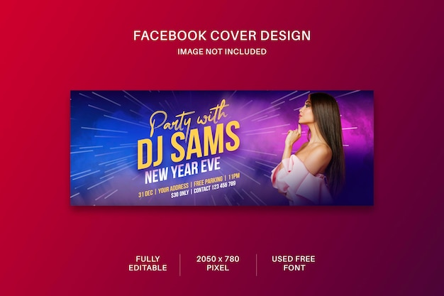 Dj party flyer couverture de médias sociaux et conception de modèle de bannière web