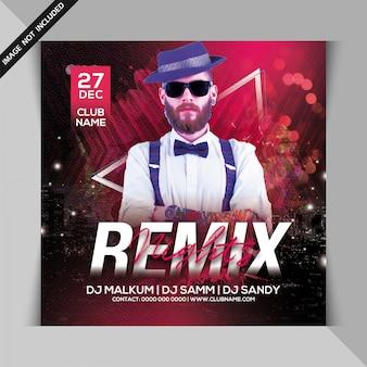 Dj remix night party flyer