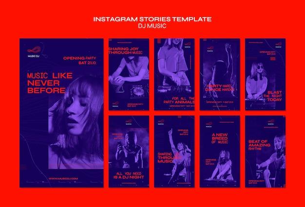Dj set modèle d'histoires instagram en direct