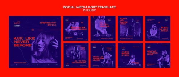 Dj set modèle de publication sur les réseaux sociaux en direct