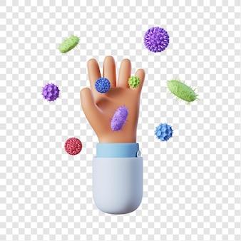 Docteur main avec des bactéries