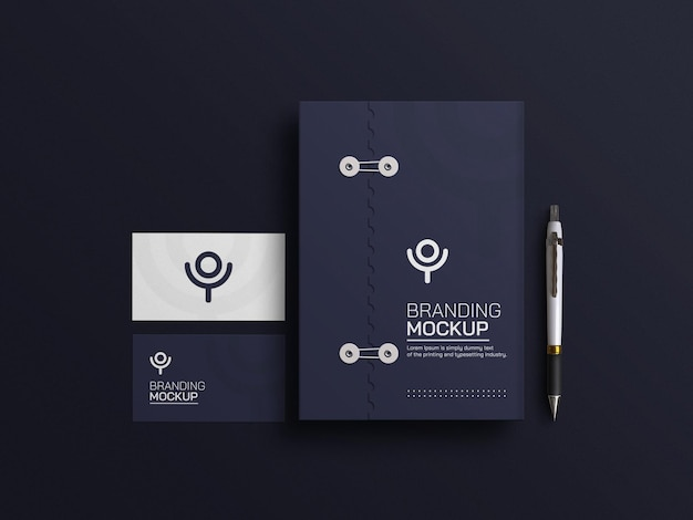 Document bleu foncé avec maquette de carte de visite