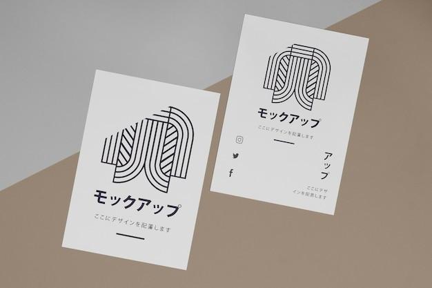 Documents de papeterie à plat avec maquette de logo