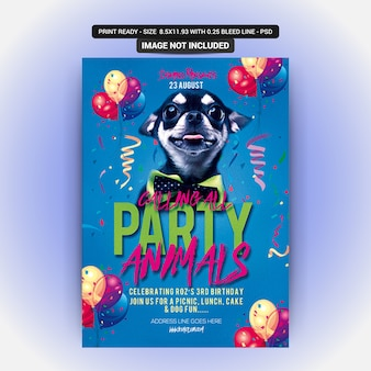 Dog Party Flyer PSD Premium