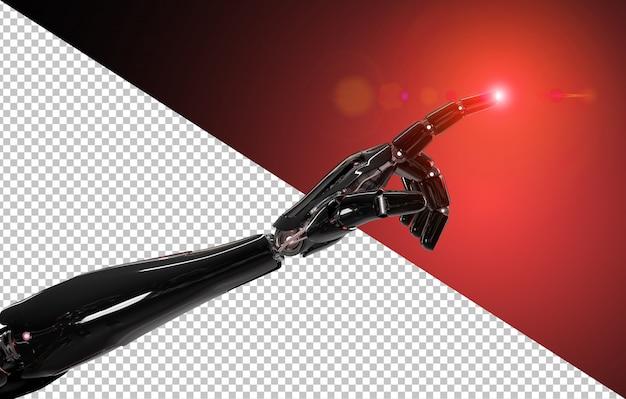 Doigt pointé de robot intelligent noir et rouge