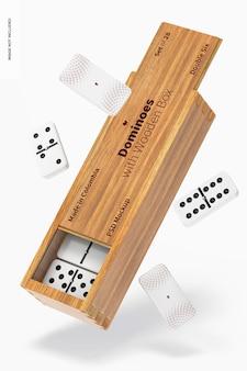 Dominos avec maquette de boîte en bois, chute