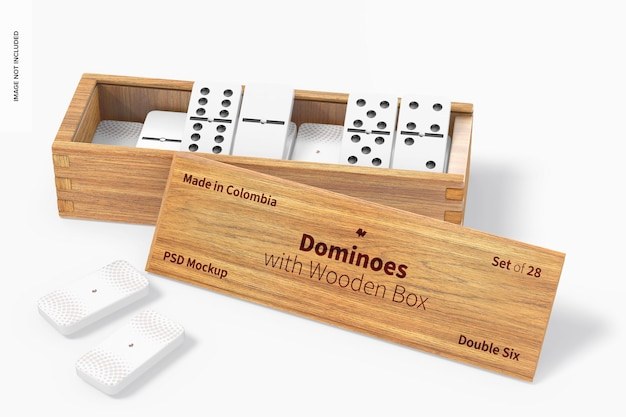 Dominos avec maquette de boîte en bois, ouvert