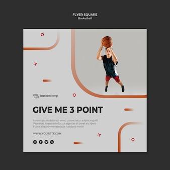 Donnez-moi 3 points modèle de flyer carré de basket-ball
