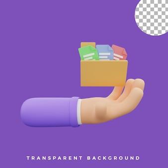 Dossier d'illustration de geste de la main 3d avec icône de document actifs isolés de haute qualité