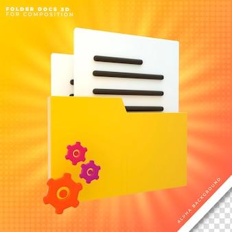 Dossier office avec l'icône de documents 3d