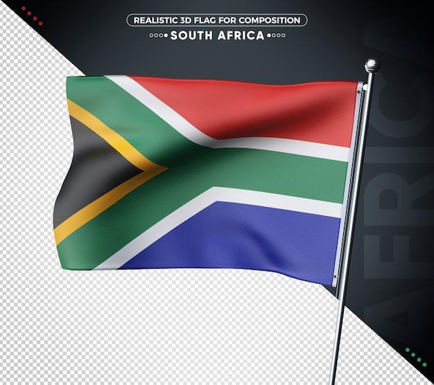 Drapeau 3d de l'afrique du sud avec une texture réaliste