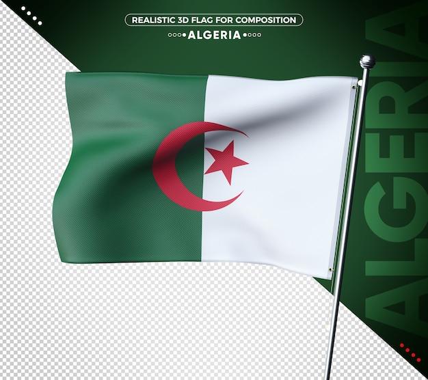 Drapeau 3d de l'algérie avec une texture réaliste