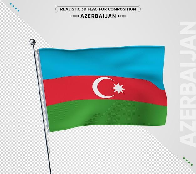 Drapeau 3d de l'azerbaïdjan avec une texture réaliste