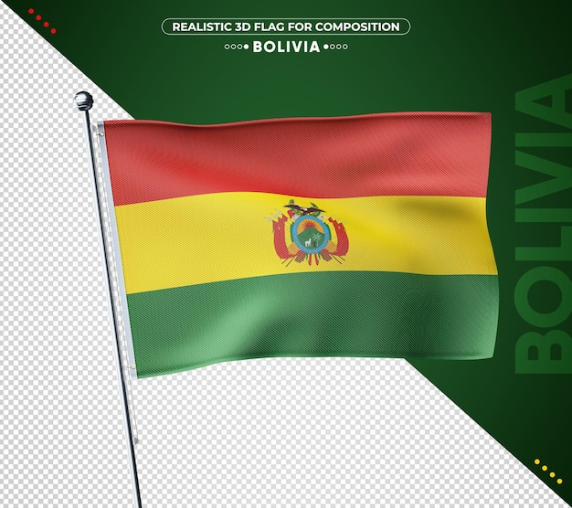 Drapeau 3d de la bolivie avec une texture réaliste
