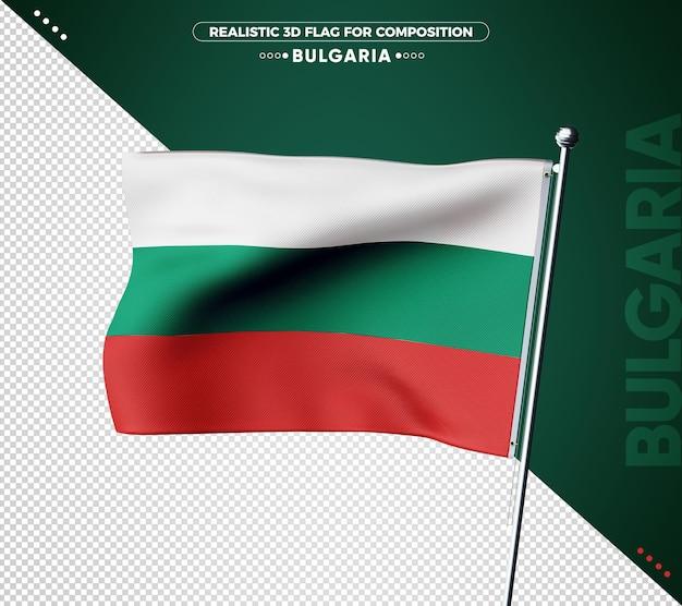 Drapeau 3d de la bulgarie avec une texture réaliste