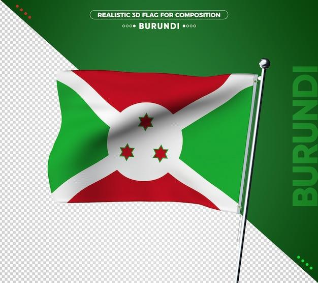 Drapeau 3d du burundi avec une texture réaliste